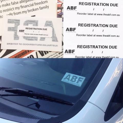 ABF Rego Renewal Sticker